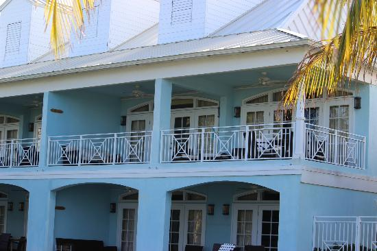 Old Bahama Bay: our balcony from the beach