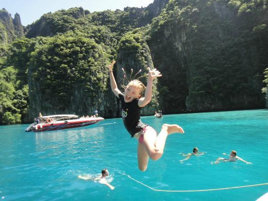 Phuket Sail Tours: Jumping off speedboat at Phi Phi.