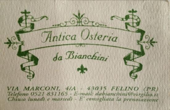 Antica Osteria Da Bianchini : Business card