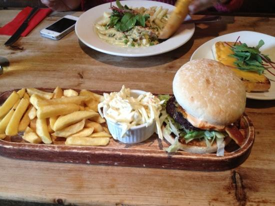 Big Ben burger for me and salmon pasta in white wine for the