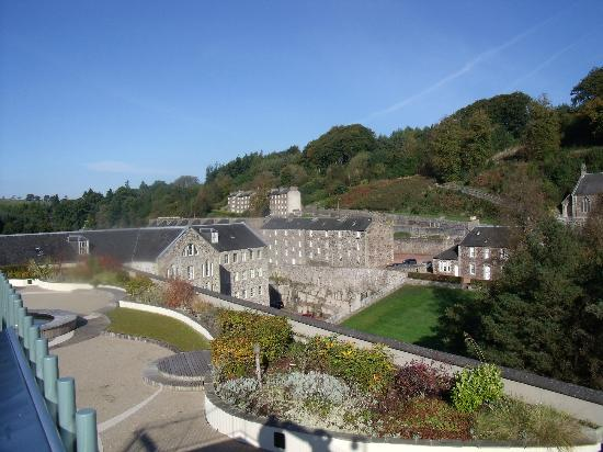 New Lanark Mill Hotel Roof Garden World Heritage Site Looking Towards