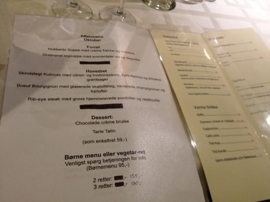 La Bastille : menu
