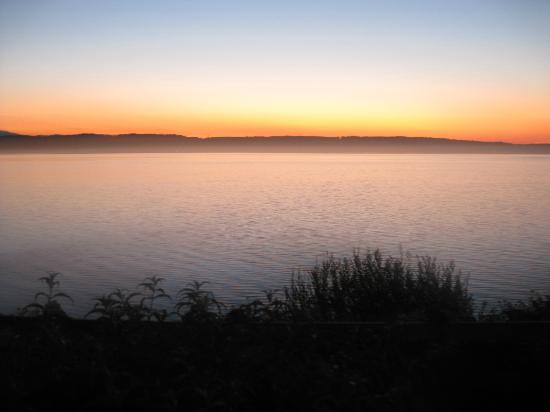 Camano Island Inn: sunset from the dining room