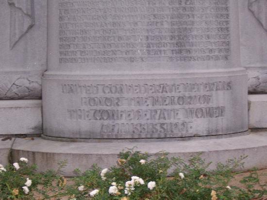 Jackson, MS: Inscription on the Monument