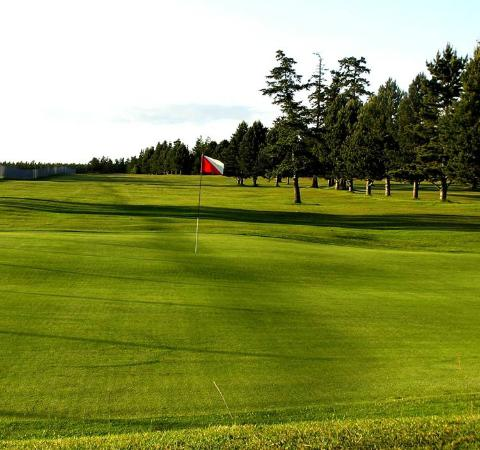 Lopez Island Golf Club: There's a pond guarding the approach right in the medium-hitter's landing zone