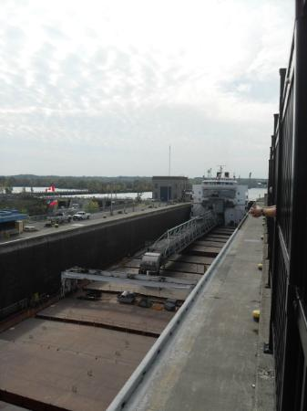 The Welland Canal: first ship lowered in lock