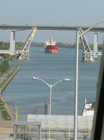 The Welland Canal: The next ship (opposite direction) approaches