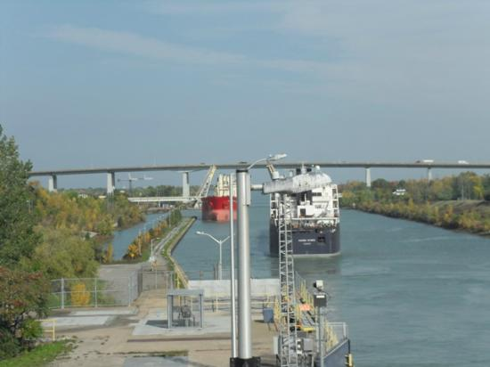 The Welland Canal: two ships cross