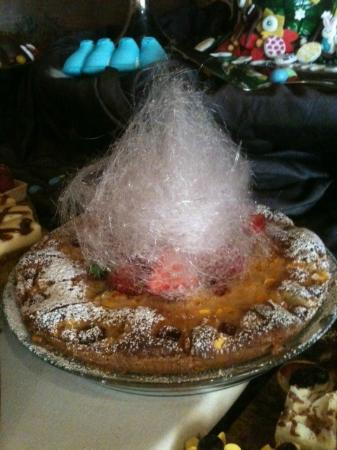 Ludwig's Restaurant : Cotton candy (or spun sugar) on Easter buffet dessert table