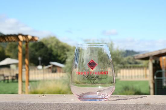 Truett Hurst Winery: Truett Hurst glass and the view