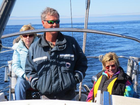 Bodega Bay Sailing: Captain Rich, Patty and Sherri in the open seas.
