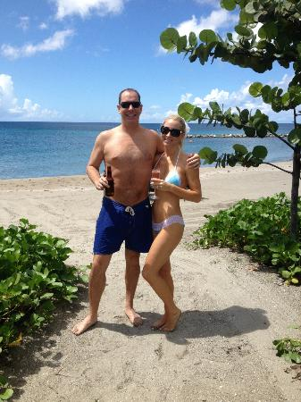 Four Seasons Resort Nevis, West Indies: Enjoying our semi private beach area from our cabana