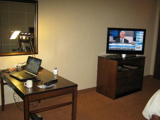 Hilton Garden Inn Calgary Airport: desk and TV