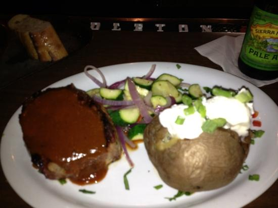 Virgil's At Cimmiyotti's: New York Steak, thick cut, with optional demiglace sauce.