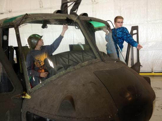 Fargo Air Museum: Nose of a Huey...kids loved playing in this!
