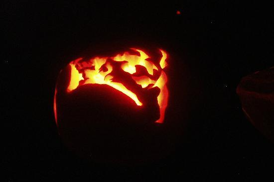 Nature Center at Happy Isles: Carved pumpkins glowing at Happy Isles