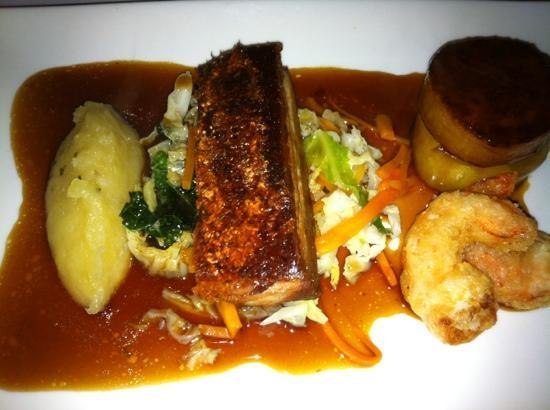 The Wild Mushroom: pork belly with prawn fritters