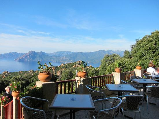 terrace picture of hotel les roches rouges piana tripadvisor. Black Bedroom Furniture Sets. Home Design Ideas
