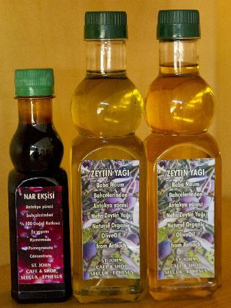 St. John Cafe Shop: Olive Oil and Pomegranate Vinegar made by the owners