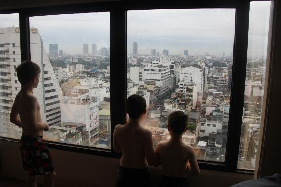Grand China Hotel: The boys looking out the window.
