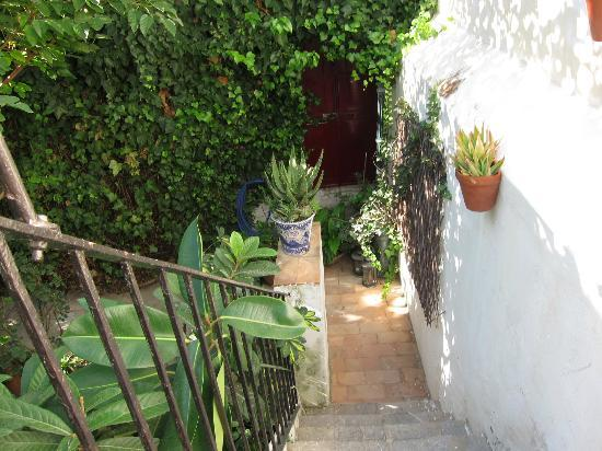 Casa Rosaleda: View down the stairs of the garden balcony.