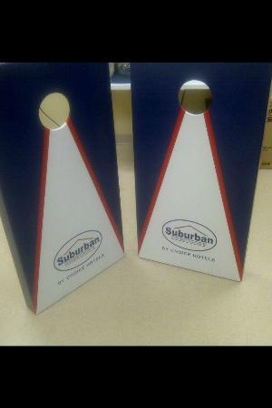 Suburban Extended Stay Hotel Camp Lejeune: Our specially made Suburban Cornhole Game!
