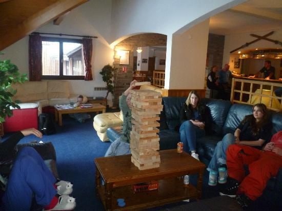 Hotel L'Aigle : Giant Jenga - one of ours is behind the tower!