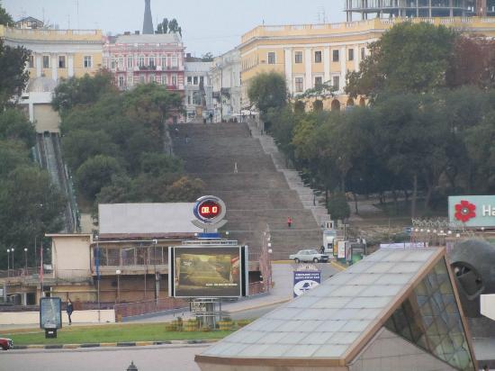 Potemkin Steps: The steps, as viewed from the deck of our docked cruise ship
