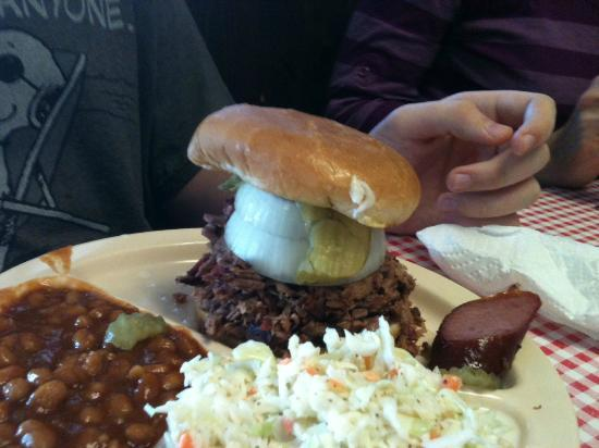 "David's Barbeque: son added a ""little"" onion to his sandwich!"