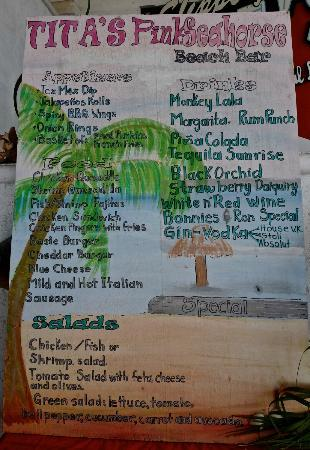Sueno Del Mar Resort: Pink Seahorse Bar Menu