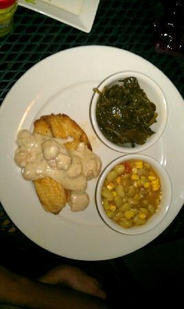 Blue Marlin: Charleston Tilapia w/succotash & collard greens