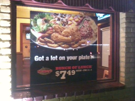 Shakey's: Bunch of Lunch sign, $7.49 without drink i believe