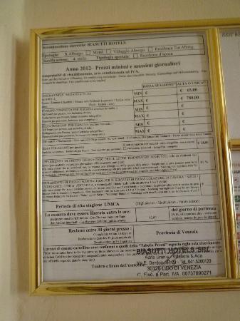 BEST WESTERN Hotel Biasutti: Zimmer-Preisliste