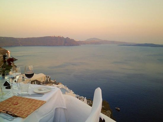 Ambrosia Restaurant: View from our Table at Ambrosia , Oia, Santorini, Greece.