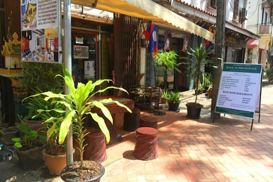 Vientiane, Laos: Magic hands massage and Magic hands hair & beauty shop next door