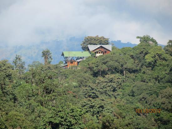 Santa Lucia Cloud Forest : Looking back at Santa Lucia from the main trail