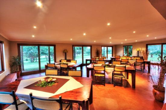 Zululand Safari Lodge: Glass paneled doors look out on to the watering hole