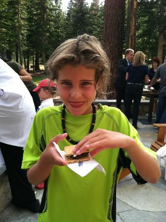 The Ritz-Carlton, Lake Tahoe: Happy kiddo eating a s'more.
