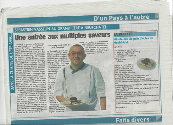 Hotel Du Grand Cerf : LE CHEF DE CUISINE AVEC SA RECETTE