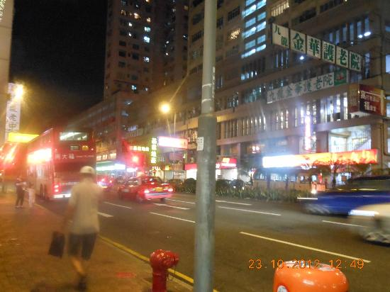 Metropark Hotel Kowloon: view from the front, very busy road