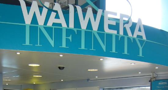 Waiwera Infinity - part of the entrance signage