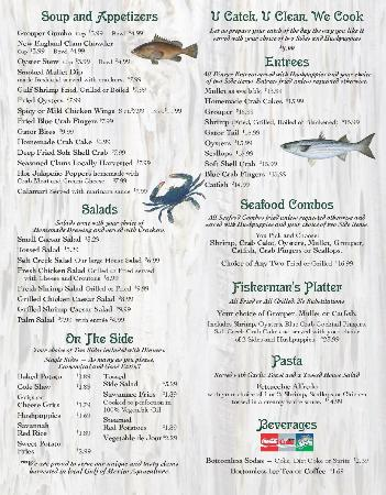 Salt Creek Restaurant: New menu first page