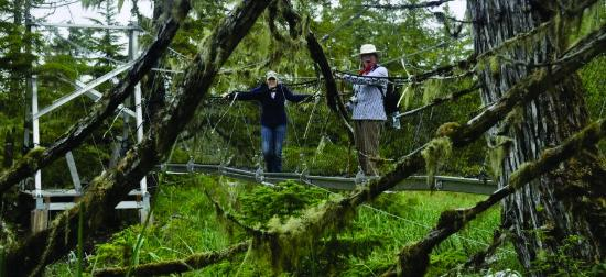Metlakatla Wilderness Trail : Sherri & Mariah Enjoying 1st Suspension Bridge Crossing