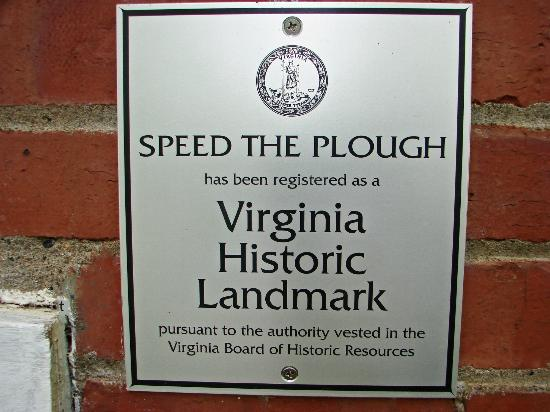 Speed the Plough Bed and Breakfast: National and Virginia Historic Landmark