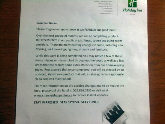 Holiday Inn Guelph Hotel & Conference Centre : Letter telling you of all the marvellous upgrades coming