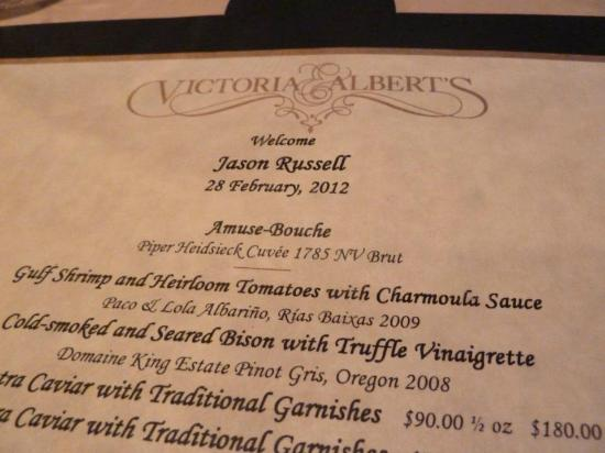 Victoria & Albert's: our menu