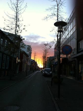 Sunrise outside Hotel Fron