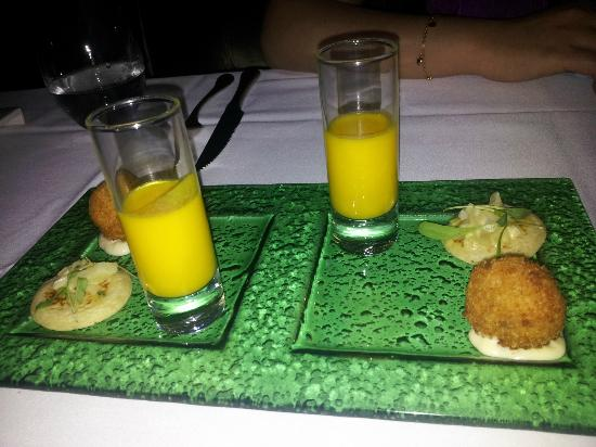 1907 Restaurant: One of several palate cleansers (I think this one was some kind of pumpkin shot)