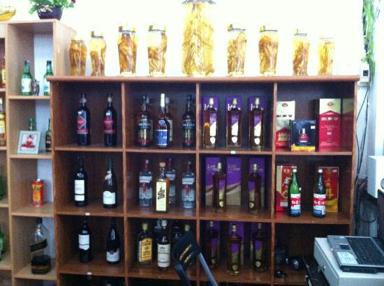 Pyongyang Restaurant: well stocked liquor shelf