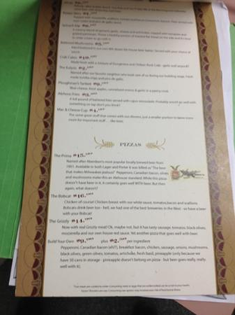 8th Street Ale House: menu1